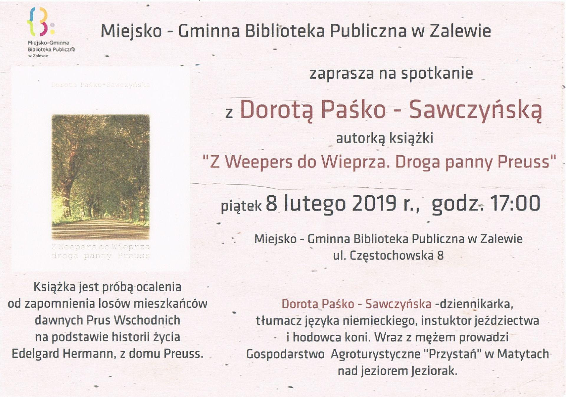 Zaproszenie Na Spotkanie Autorskie W Mgbp W Zalewie Zalewo